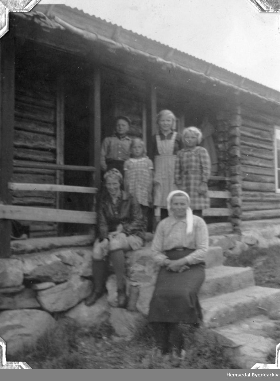 Frå Heggeslettene (Heggjislettat'n) i Hemsedal, ca. 1940. Fremst frå venstre: Sigrid Haugen, fødd Hulbak; Bydame Bak frå venstre: Olav, fødd 1929; Ingrid, fødd 1934; Karoline, fødd 1927; Borghild, fødd 1932.