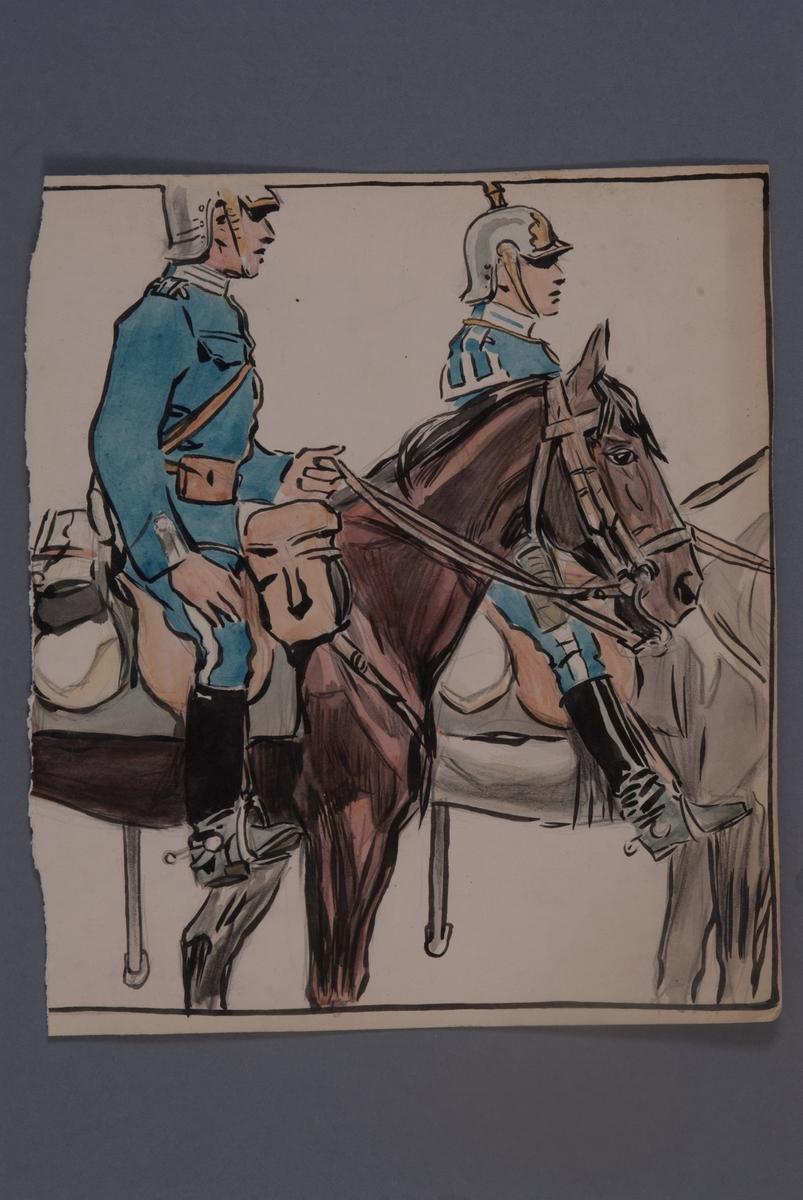 Plansch med uniform för Livgardet till häst, ritad av Einar von Strokrich.