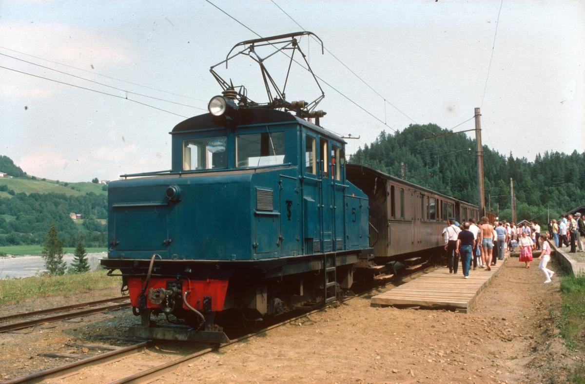 Tog med Salvesen & Thams lokomotiv nr. 5 på Svorkmo stasjon.