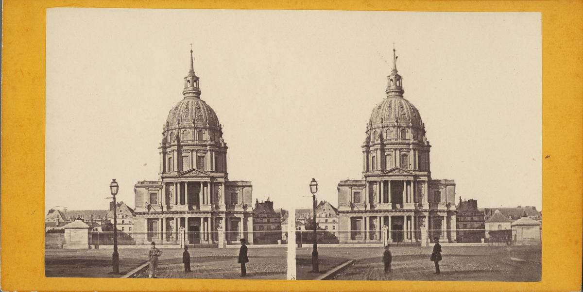 Stereobild med motiv av okänd kyrka, möjligen Chapelle place Maurice Barres, Paris.