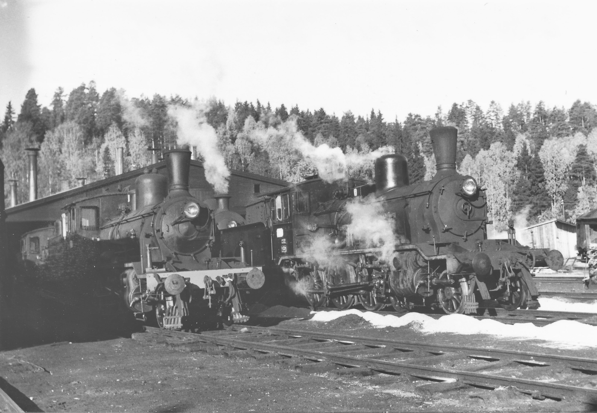 Damplokomotiver utenfor lokstallen på Hønefoss. Til venstre lok type 21, til høyre lok type 18c 212.