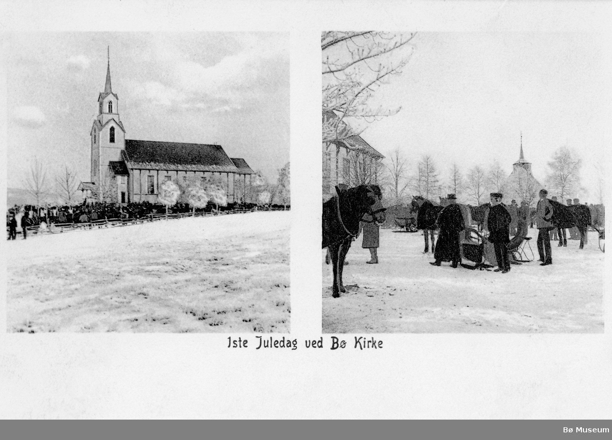 """Prospektkort frå Bø kyrkje m. trykt tekst: """"1ste Juledag ved Bø kirke""""."""