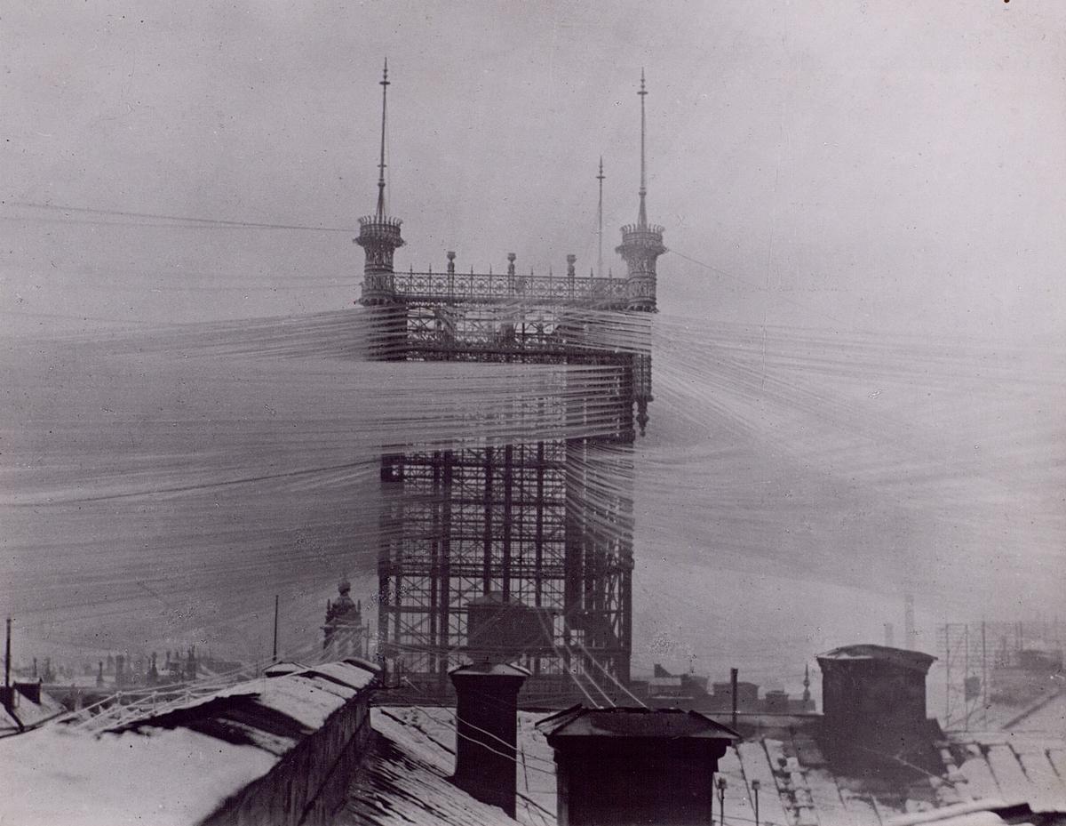 Telefontornet i rimfrost, 1890-talet. Stockholms Allmänna Telefon AB.
