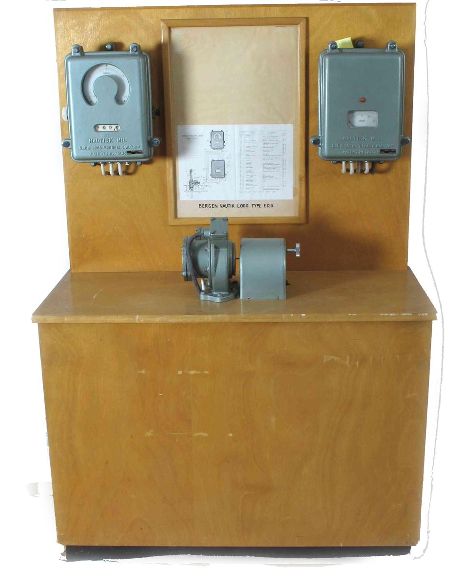 Møbel, skap eller reoliknende, med påmonterte logg-instrumenter.