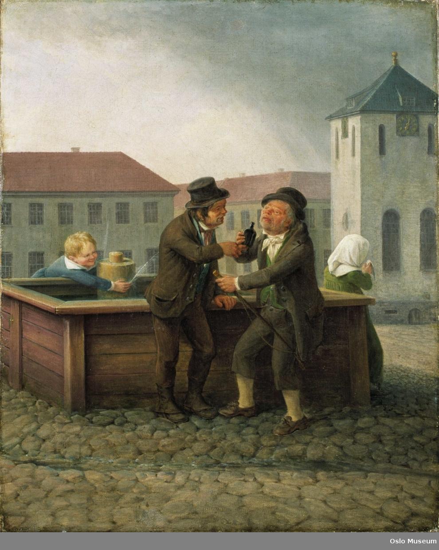 scene kusker som står og drikker ved en brønn