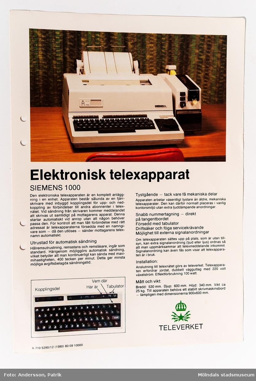 Reklamblad: Elektronisk telexapparat Siemens 1000, utgivet av Televerket 1980.
