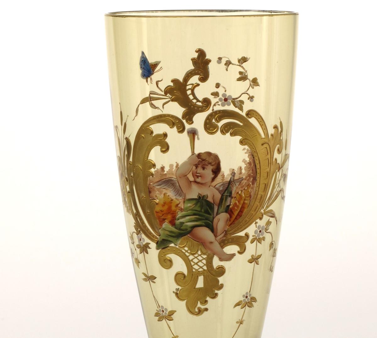 På den ene side malt en forgylt rokokkokartouche med en sittende putto med en grønn flaske og et høyt glass med skummende vin.