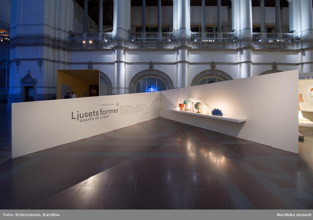 """Nordiskt ljus, utställningsdokumentation, designdelen """"Ljusets former"""", ytterligare bilder av lokalerna finns i posterna NMA.0079763, NMA.0079784 och NMA.0079762 (fotograferades innan öppning 29 okt 2016)"""
