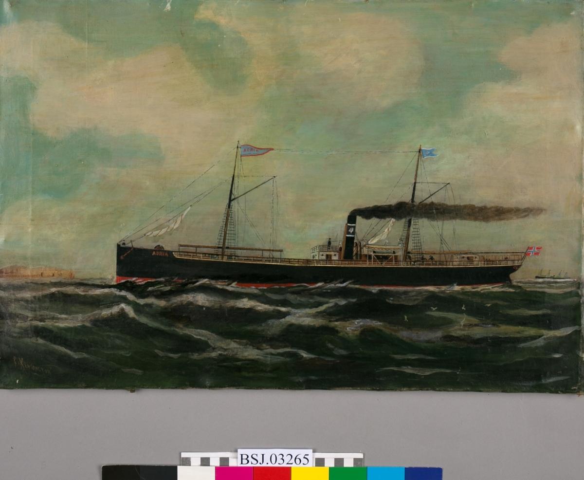 Skipsportrett av dampskipet ADRIA, på åpent hav. Store bølger og måker. Skipet har to master med vimpler med skipets navn, samt rederimerke. Baugen merket med ADRIA og skorsteinen bærer rederimerket til Joh. Mowinckel. Norsk flagg akter.