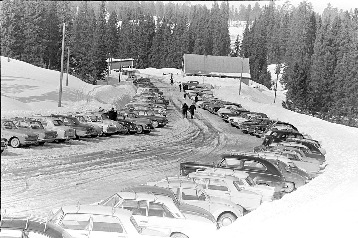 Gåsbu,parkeringsplass,personbiler, vinter.