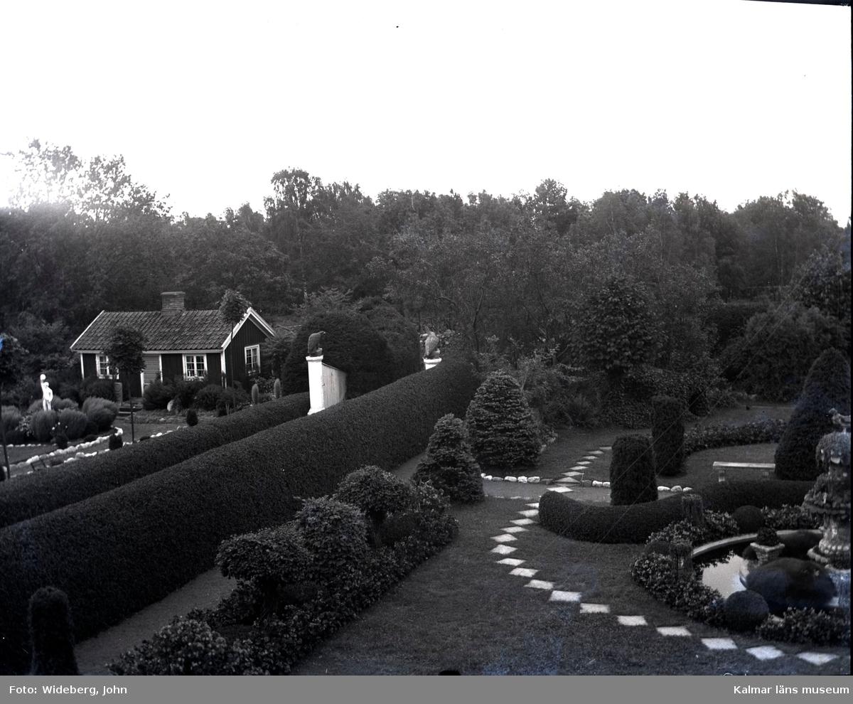 Huset i Widebergska trädgården sett från söder.  John Wideberg blev tidigt intresserad av trädgårdsanläggningar. Han hade sannolikt hämtat inspiration på resor han gjort till Stockholmsutställningen 1897 och till Göteborg 1923. Han blev också vän med stadsträdgårdsmästaren Haglund i Kalmar. John hade palmer i potatiskällaren under huset och påfåglar, ekorrar och pärlhöns som övervintrade i hönshuset. En papegoja och en sköldpadda fick tillbringa vintrarna inne i köket. Runt trädgården planterade han skyddande häckar. Arbetet påbörjades redan när han var 18 år med att han hämtade åtta granar i skogen, och planterade dem i en ring mitt i trädgården. Dessa finns kvar än idag. I slutet av 1930-talet arrenderades jordbruket ut och John kunde ägna sig på heltid åt trädgården, som blev alltmer av ett besöksmål. John började ta inträde, 25 öre. John utvecklade också sin hobby som tavelmålare och som fotograf. Han tog med sin lådkamera under årens lopp hundratals vackra bilder från trädgården, liksom på vyer, hus och människor i takten. Ca 500 av dessa bilder finns bevarade som glasplåtar, skänkta till Kalmar läns museum.