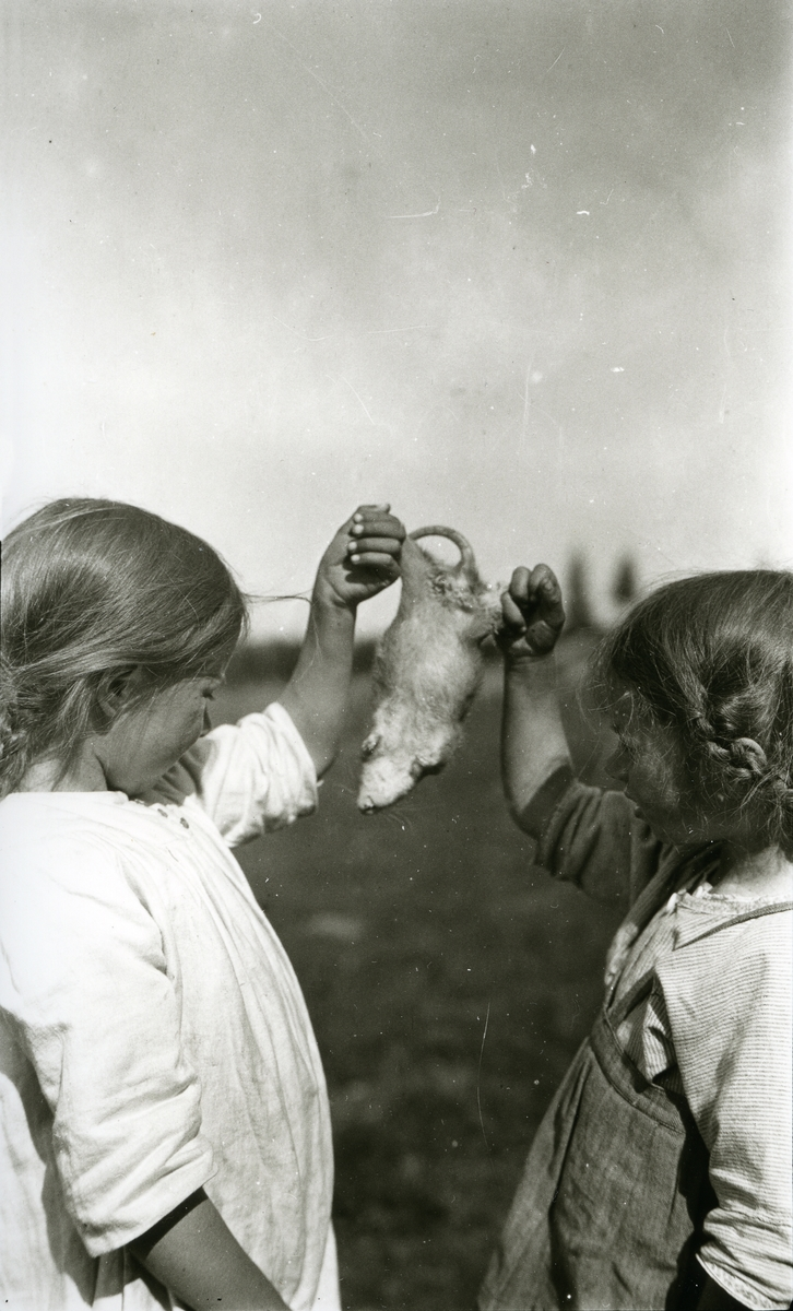 To jenter stående med ei rotte i mellom seg, i Galåsen. Målfrid Hauge f. Galaasen (1914), Ingebjørg Buflod f. Galaasen (1915 - 1999)