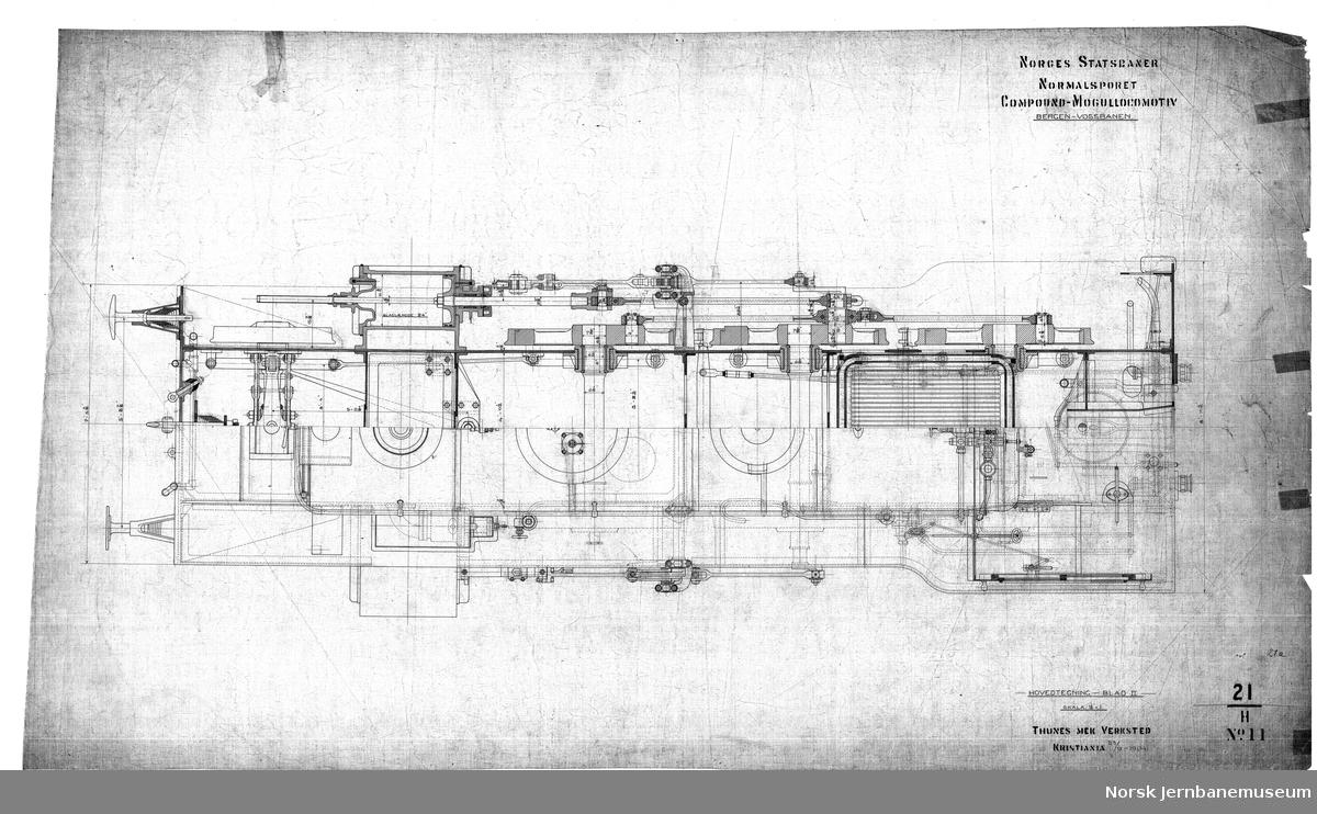 Norges Statsbaner. Normalsporet compound-Mogullokomotiv. Bergen-Vossebanen.  Damplok type 21a. Tegning 21H No. 10, 11 og 12, hovedtegning blad I, II og III