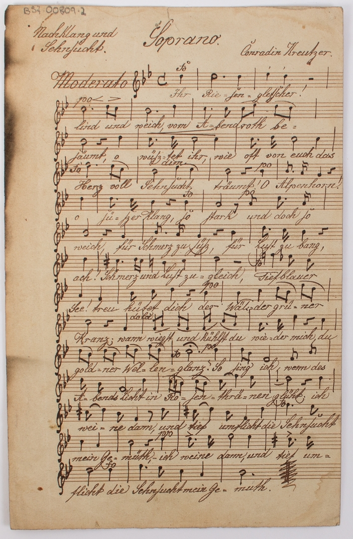Avskrift av musikkstykke komponert av den tyske komponisten Condradin Kreutzer.