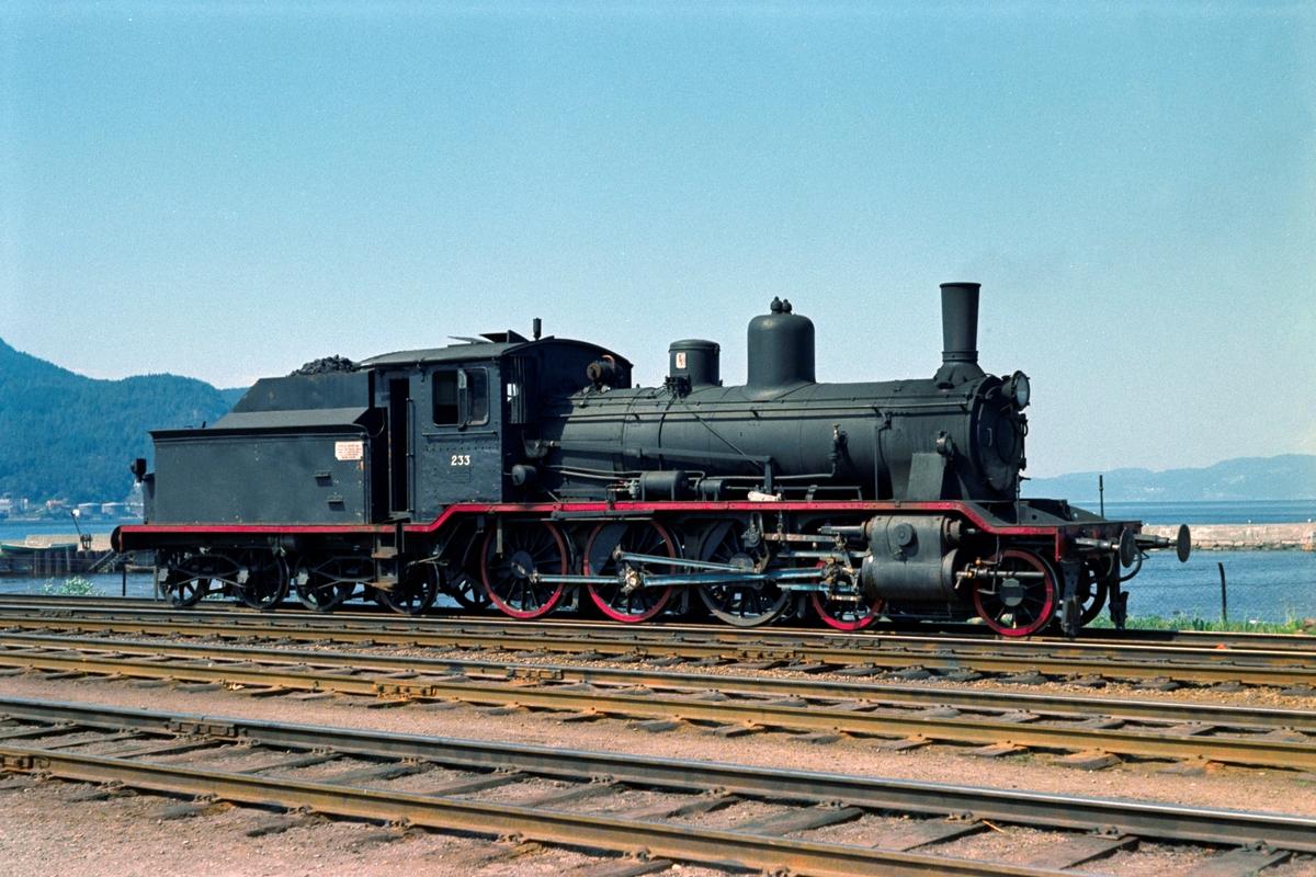 Damplokomotiv type 18c nr. 233 i skiftetjeneste på Trondheim stasjon.