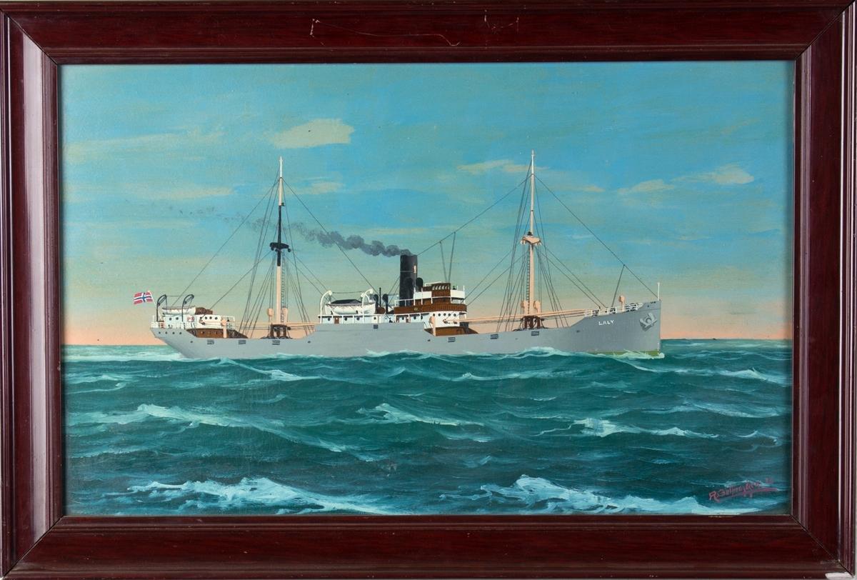 Skipsportrett av DS LALY under fart i åpen sjø. Fører norsk flagg akter.