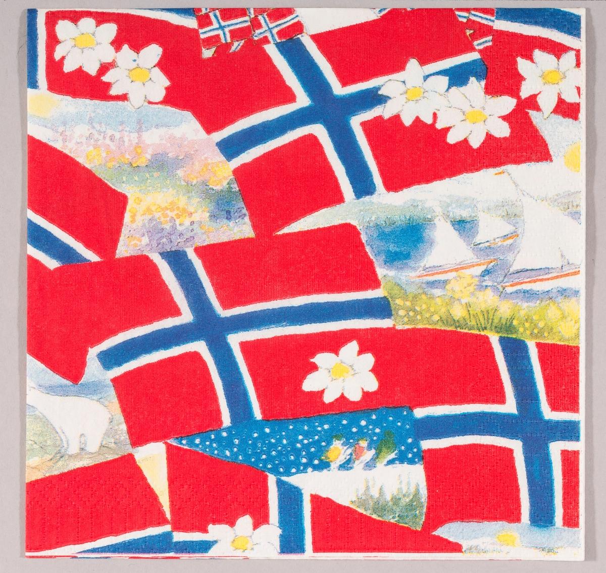 Norske flagg, hvite blomster og motiver med sommerlandskaper, båter i sjøen og vinterlandskaper.