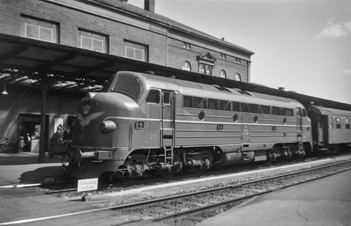 Dansk diesellokomotiv type My nr. 1107 med persontog på Ålborg stasjon.