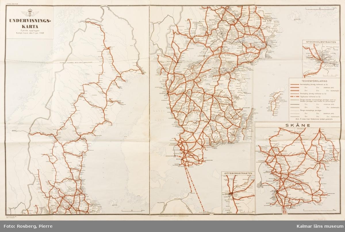 KLM 39679:1 Karta. Undervisningskarta från 1949 över samtliga järnvägsstationer i Sverige.