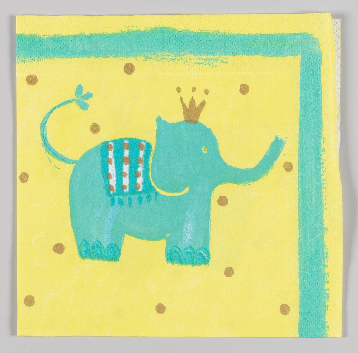 En lyseblå elefant med gullkrone på en gul bakgrunn med gullprikker  SAmme motiv som på MIA.00007-003-0137