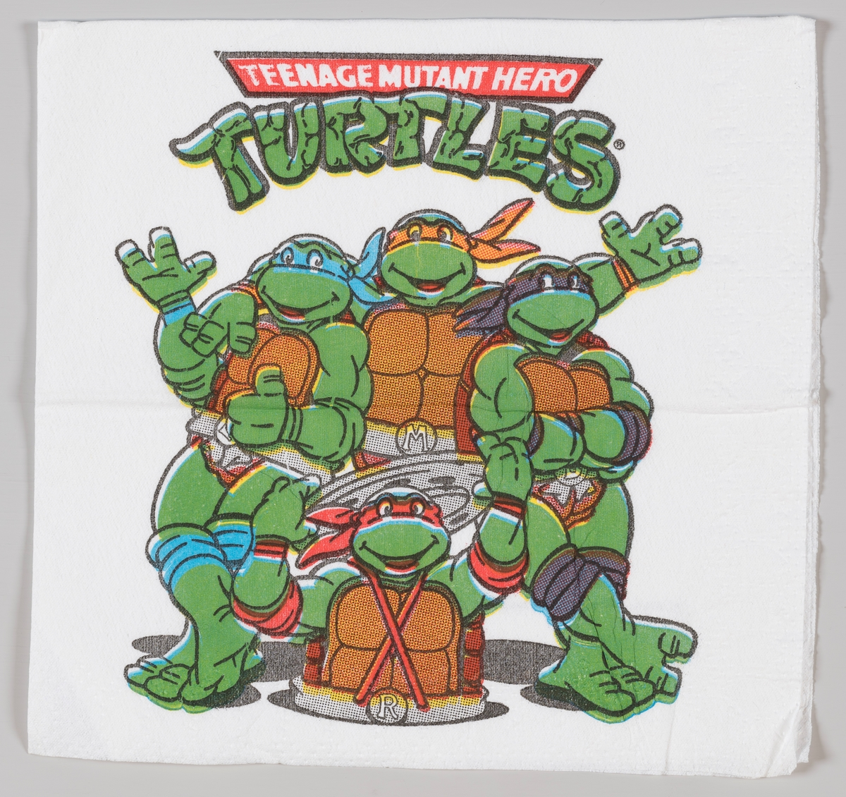 De fire Teenage Mutant Ninja Turtles.  Teenage Mutant Ninja Turtles er en amerikansk tegneserie som startet i 1984. Serien handler om de fire skilpaddene Leonardo, Donatello, Raphael, Michelango.