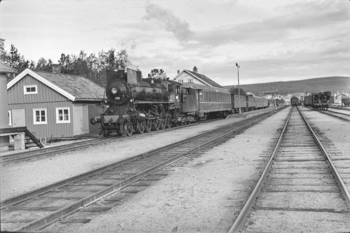 Persontog fra Oslo Ø til Trondheim over Røros, Pt. 301, på Røros stasjon. Toget trekkes av damplokomotiv type 26b nr. 229.