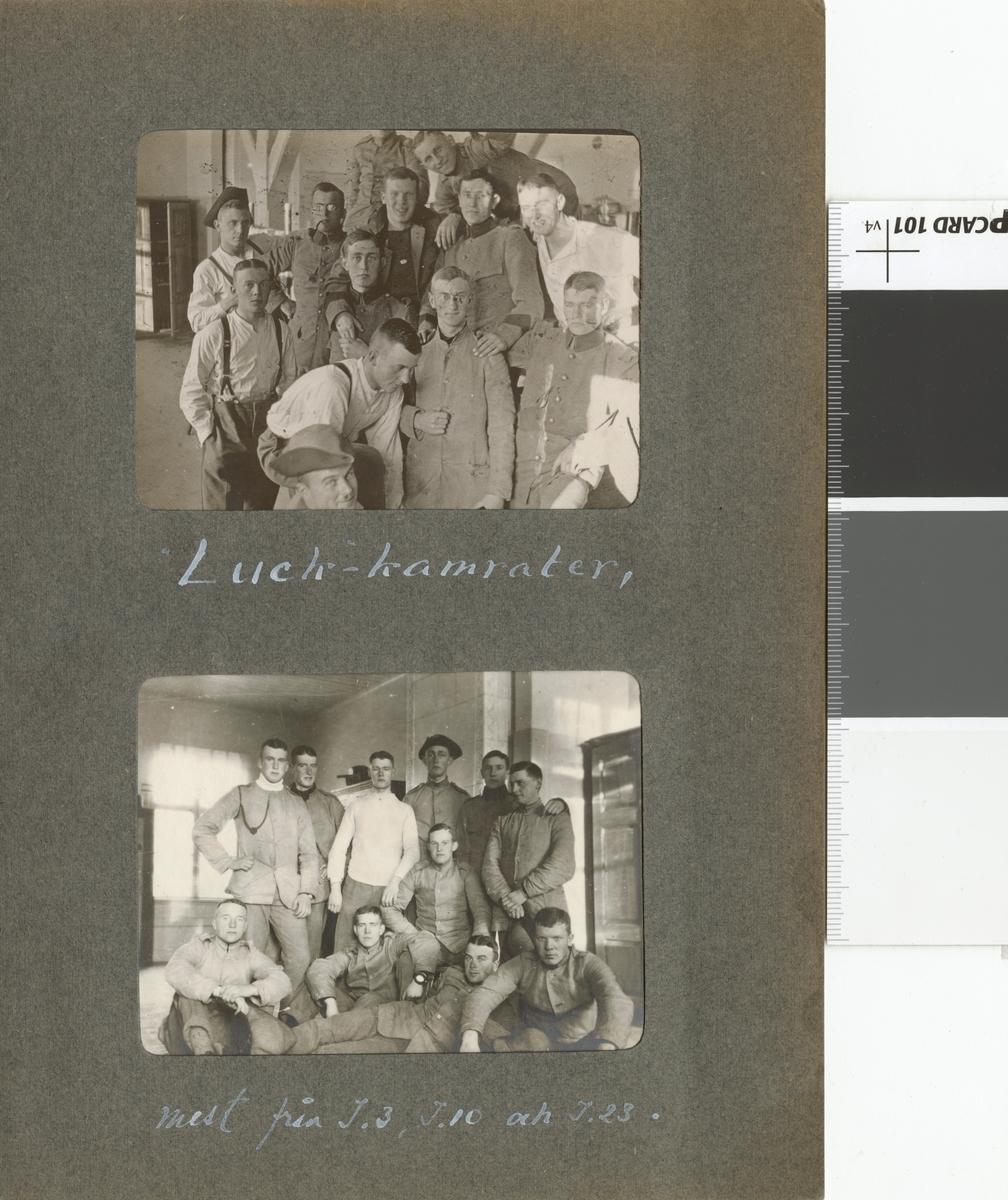 "Text i fotoalbum: ""Luck-kamrater."""