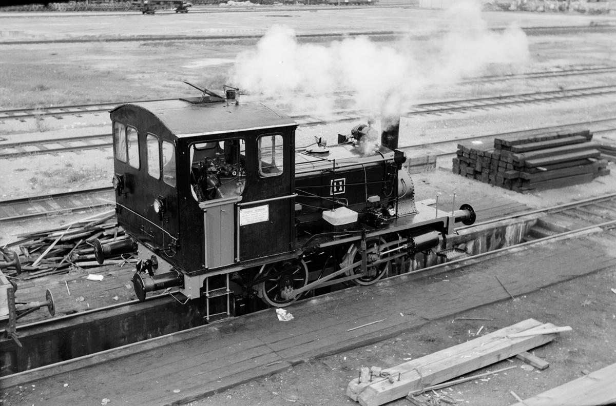 Nyrevidert og nymalt damplokomotiv type 7a nr. 11 på Grorud Verksted. Prøvefyring.