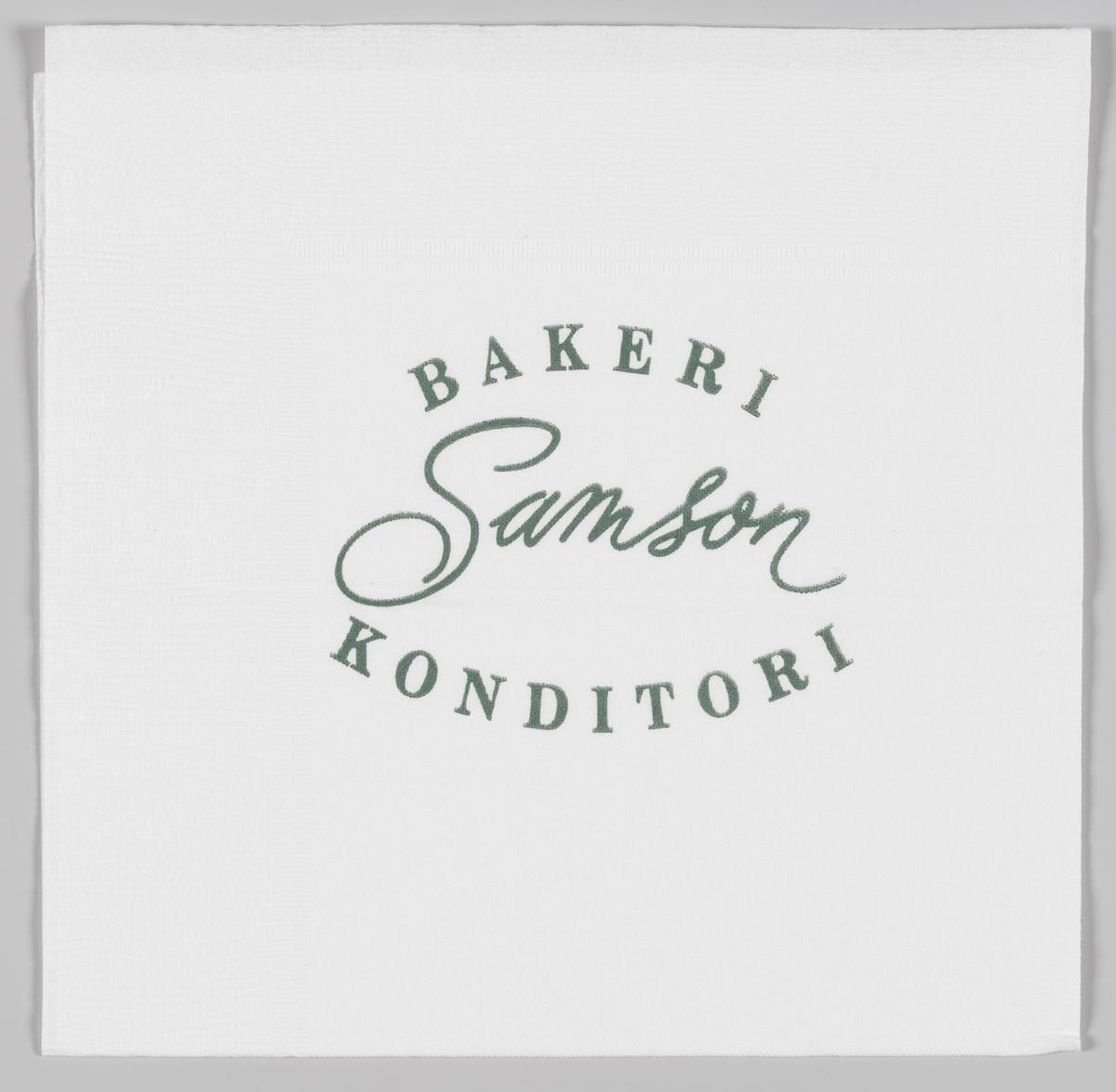 Reklametekst for Baker Samson  Wilhelm Bismark Samson startet sitt første bakeri i 1894 på Egertorget i Kristiania.  Reklame for Samson på serviettene MIA.00007-004-0001 til MIA.00007-004-0006