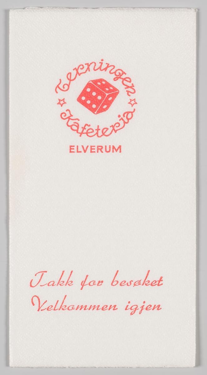 En terning og reklametekst for Terningen Kafeteria i Elverum.   Den første Terningen kafeteria i Elverum var i drift fra 1957 til 1978. Et spisested med samme navn etablerte seg i 2010 i Elverum.