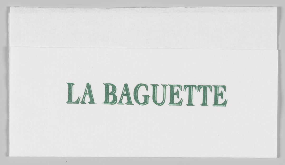 En reklametekst for La Baguette  La Baguette er en kjede av kafeer med hovedfokus baguetter som tilberedes ferskt  etter kundens ønsker. La Baguette konseptet startet i 1985.  Samme tekst på MIA.00007-004-0143.
