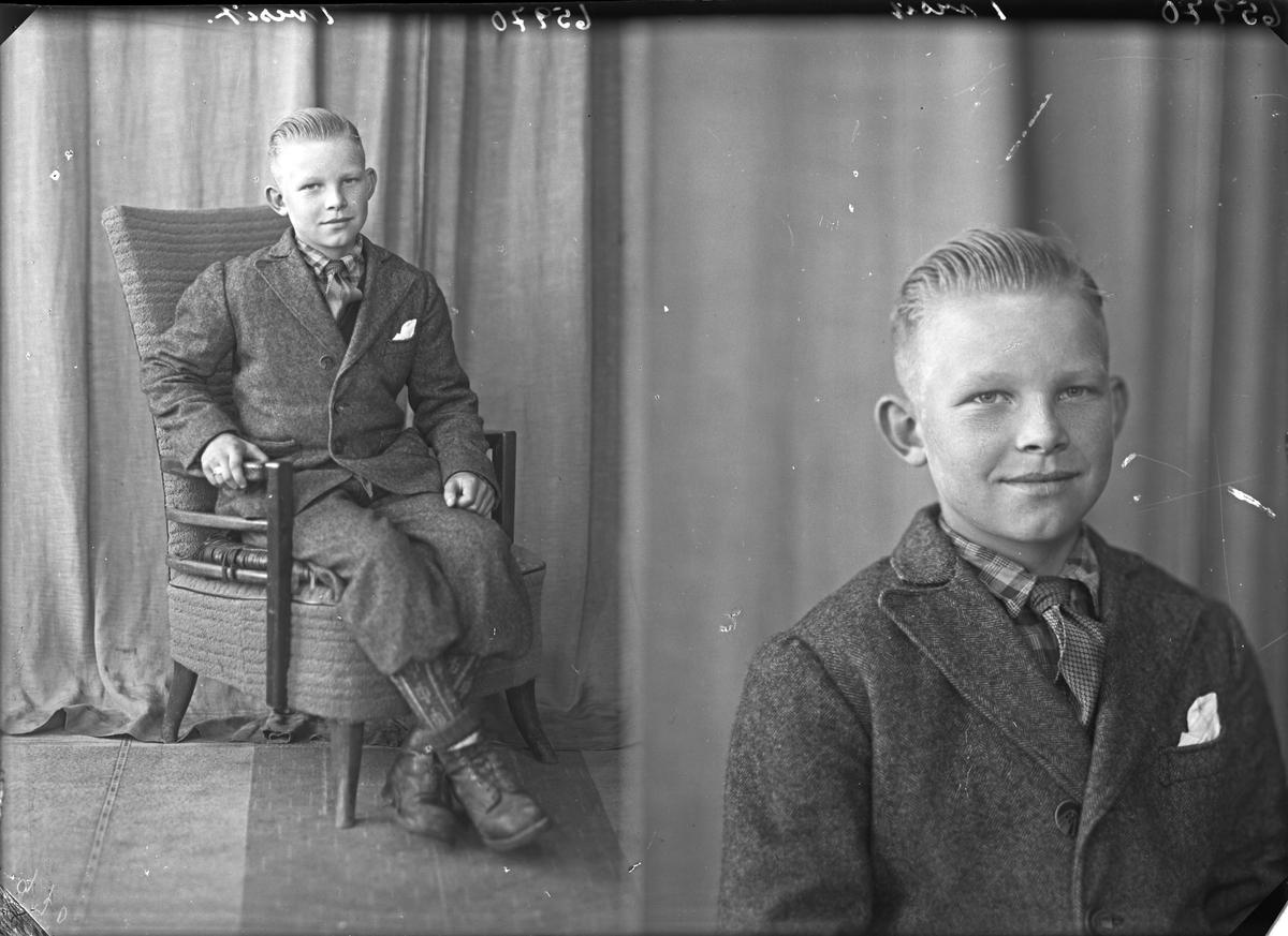Portrett. Gutt i mørk dress med slips. Bestilt av Otto Pedersen. Auklandshavn