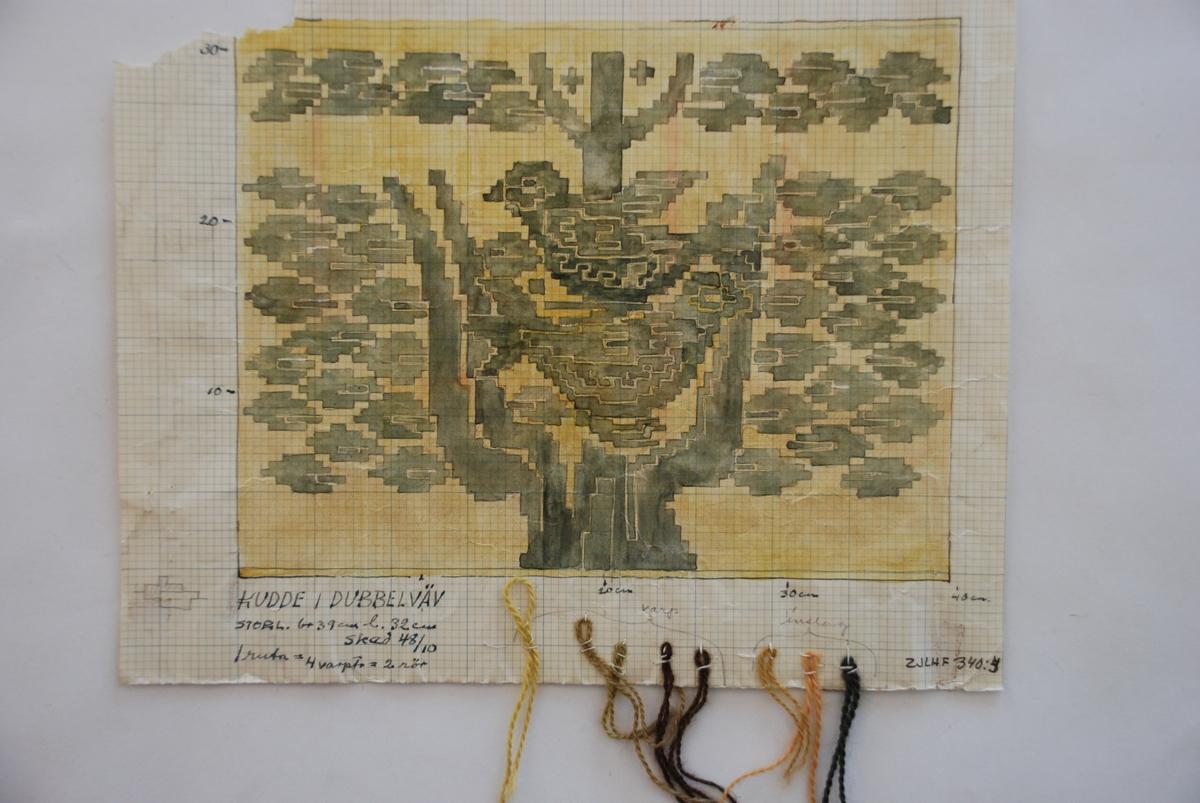 Skiss till finnväv komponerad av Hildegard Dinclau. Med garnprover.