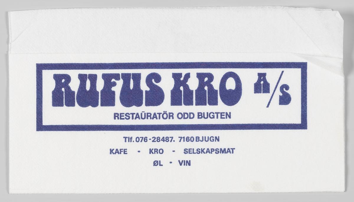 En ramme med en reklametekst for Rufus Kro i Bjugn.