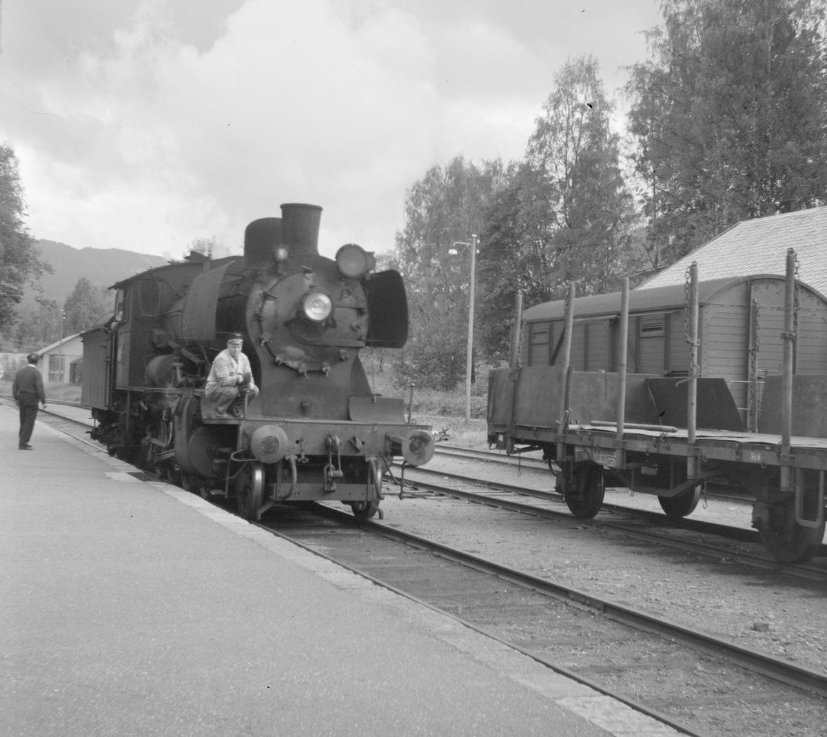 Skifting med damplok 24b 264 på Skreia stasjon.