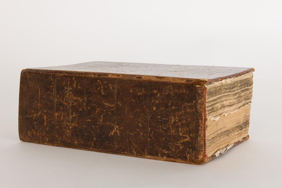 Skinninnbundet bibel publisert i 1858 hos Chr. Olsen i Frederikshald (Halden). Noe skadet.