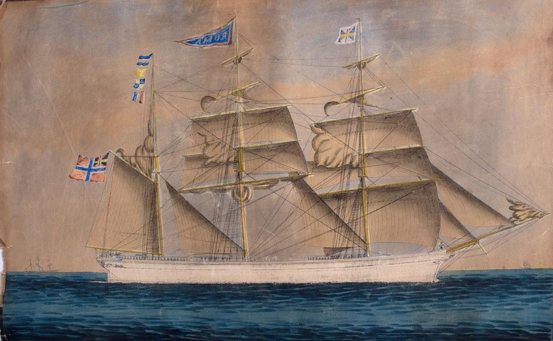 Skipsportrett av bark ROMA med seilføring. Fører unionsflagg i mesanmast vimpel med skipets navn i toppmast og gjørs.