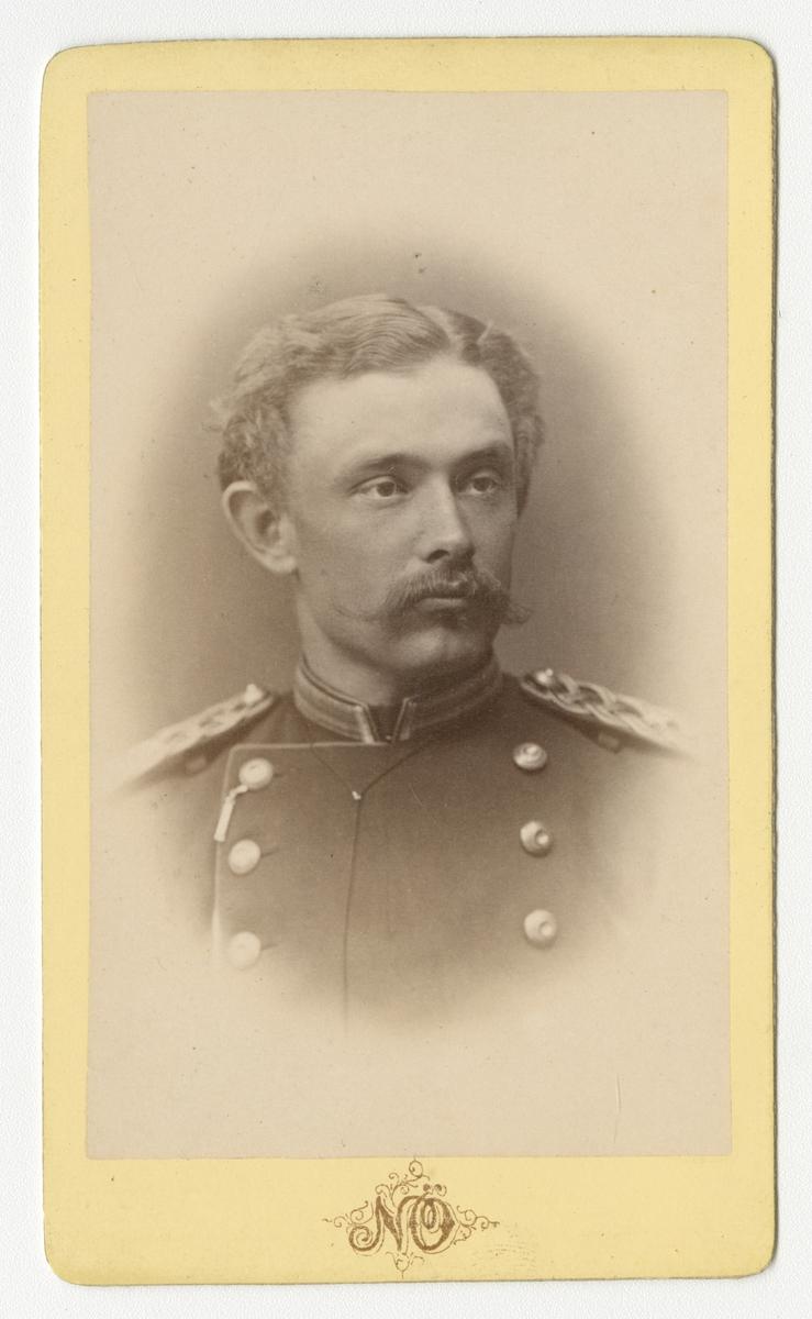 Porträtt av Lars Oscar Stigell, officer vid Kronobergs regemente I 11.  Se även bild AMA.0002208.