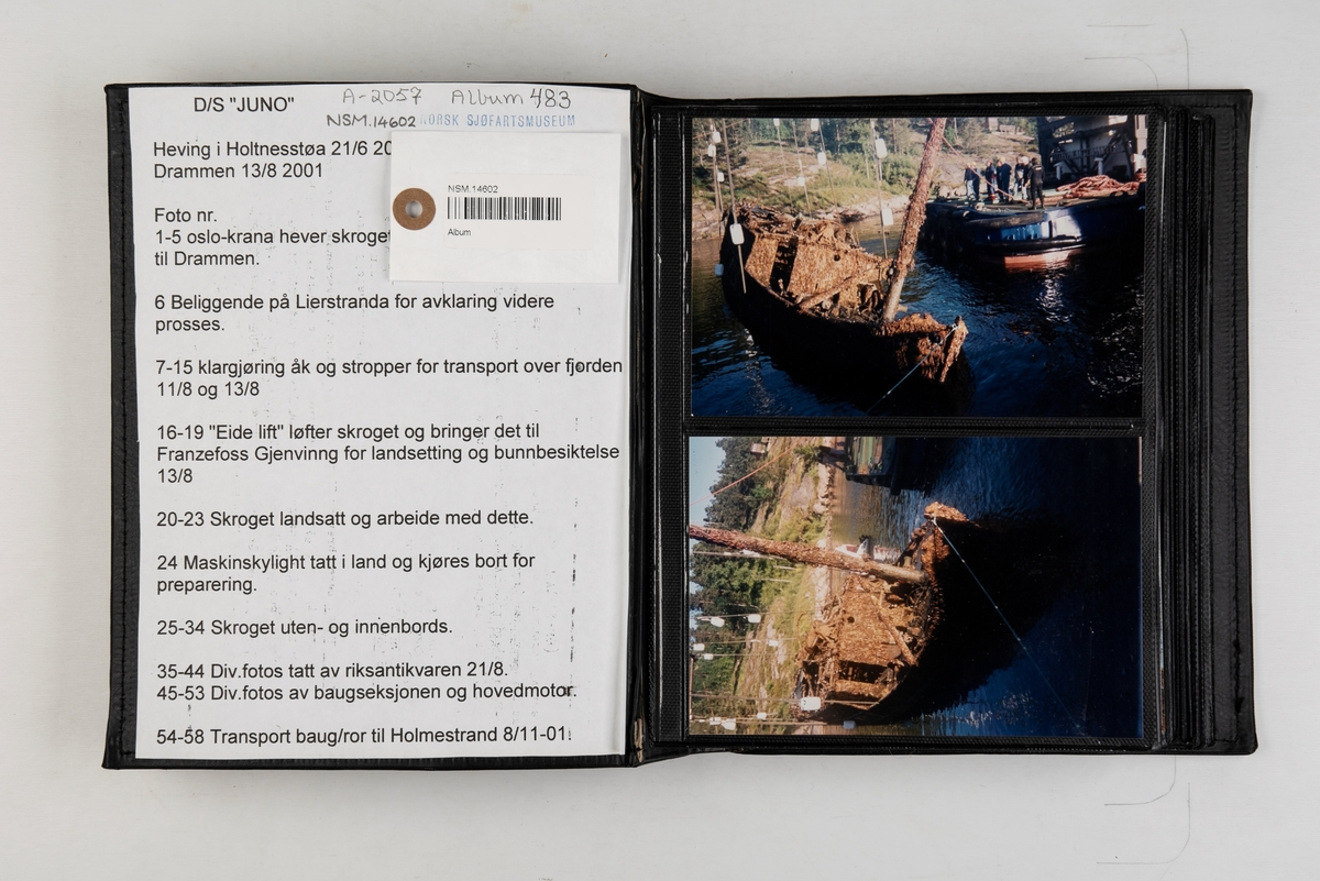 Album med fotografier fra hevingen av  D/S 'Juno'.