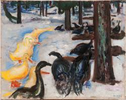 Ender og kalkuner i vinterlandskap [Maleri]