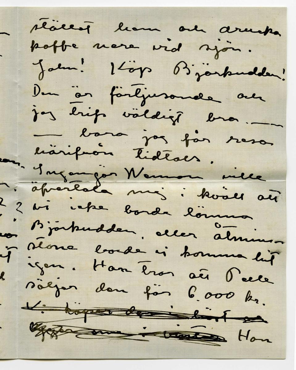 """Brev 1911-08-22 från Ester Bauer till John Bauer, bestående av sex sidor skrivna på båda sidor av två pappersark, det ena av dem dubbelvikt, samt kuvert. Huvudsaklig skrift handskriven med svart bläck.  . BREVAVSKRIFT: . [Sida 1] Björkudden 22 –8[?] 1911 Käre lille John! Kl. 12 Jag måste skrifva till dej i kväll (trots att jag inget [överstruket eller bläckplump över den första bokstaven: """"- og""""] fick af dej i dag.) och tala om att jag haft gränslöst roligt i kväll. Jag har varit på Aranäs på kräft- [överskrivet: l] kalas och åkt hem i  en friherrelig [överstruket: k] Docart från Västanå egenhän- digt körd af en ung baron (icke den gifte) Han var förtjusande och vi flirtade vildt. . [Sida 2] Föröfrigt kan jag tala om att B. visst inte är kär i högst den samme vi talade om, utan hon är förlofvad med en gräsligt stilig och i de högre kretsarna sig röran- de man i Stockholm. Är du lessen! hva?? I förmiddags voro Babro Weman och jag på visit i Ravelsmarks prästgård men pastorn var inte hemma till vår stora ledsnad. Vi gingo i  . [Sida 3] stället hem och drucko kaffe nere vid sjön. John! Köp Björkudden! Den är förtjusande och jag trifs väldigt bra. --- -- bara jag får resa härifrån tidtals. Ingenjör Weman ville öfvertala mej i kväll att vi icke borde lämna Björkudden eller åtmin- stone borde vi komma hit igen. Han tror att Pelle  säljer den för 6.000 kr. [överstruket: Vi köper den i höst och bygger om  vinter] Han . [Sida 4]  tycker att vi genom någon annan bör ge budet och låta Pelle tänka på det ett halfår. Ja, du John hvad gör du? Har du roligt Hvarför skref du inte i går kväll när du kom fram? I går var jag i Grenna för att flirta med Pelle C. men fick veta att han rest. Jag fick åka hem med Olga W. God natt John lille. Vill du kyssa mej? Du fick bref idag från Sigge B. men där stod inget viktigt i det. . [Sida 5] Onsdagen 23. I dag är det återigen varmt å lugnt. Pojken och hönsen ligga och sola sej. Allt är  förtjusande. Hur går det för dej?  Finns det många  trefli"""
