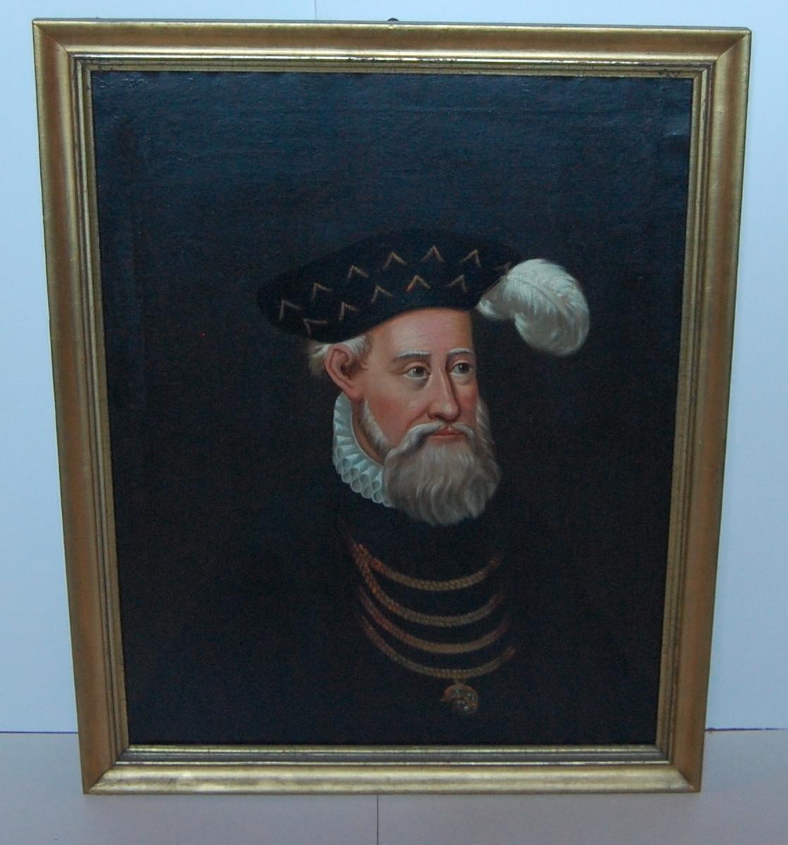Olje på lerret, forgylt profilert ramme, portrett av Christian III.
