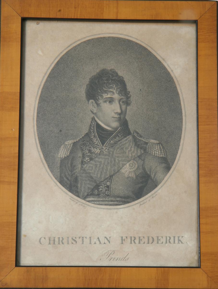 Glass, brun og sort ramme, ovalt portrett av prins Christian Fredrik.