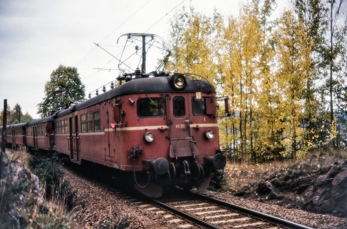 Elektrisk motorvognsett med motorvogn BM 65 50 fremst med persontog ved Maridalvannet mellom Kjelsås og Sandermosen