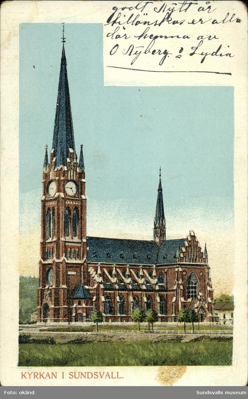 Vykort med motiv över Gustav Adolfs kyrka.