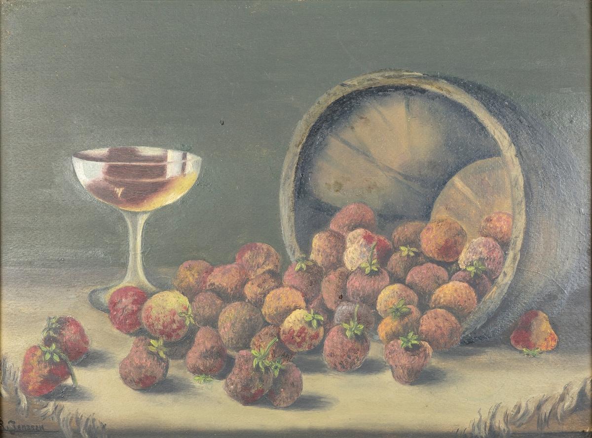 Stilleben med jordær og vinglass