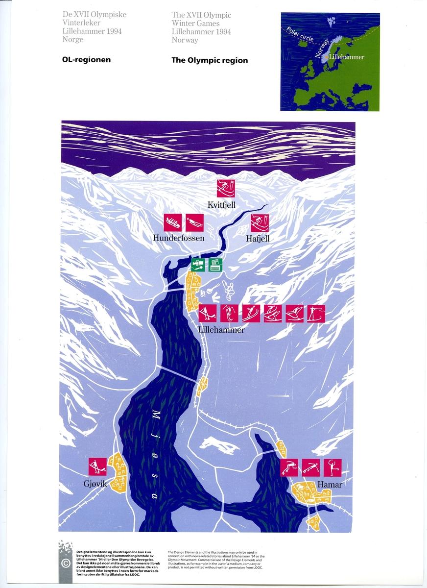 Åtte ark som beskriver grunnelementene i designprogrammet for Lillehammer '94 1: Lillehammer-emblemet 2: Kart OL-regionen i farger 3: Kart OL-regionen i svart-hvitt 4: Piktogrammer 5: Maskotter 6: Krystallmønster 7: Piktogramelementer: Piktogram for Kultur, '94 laget og seremonier 8: Kart for fakkelstaffetten i farger
