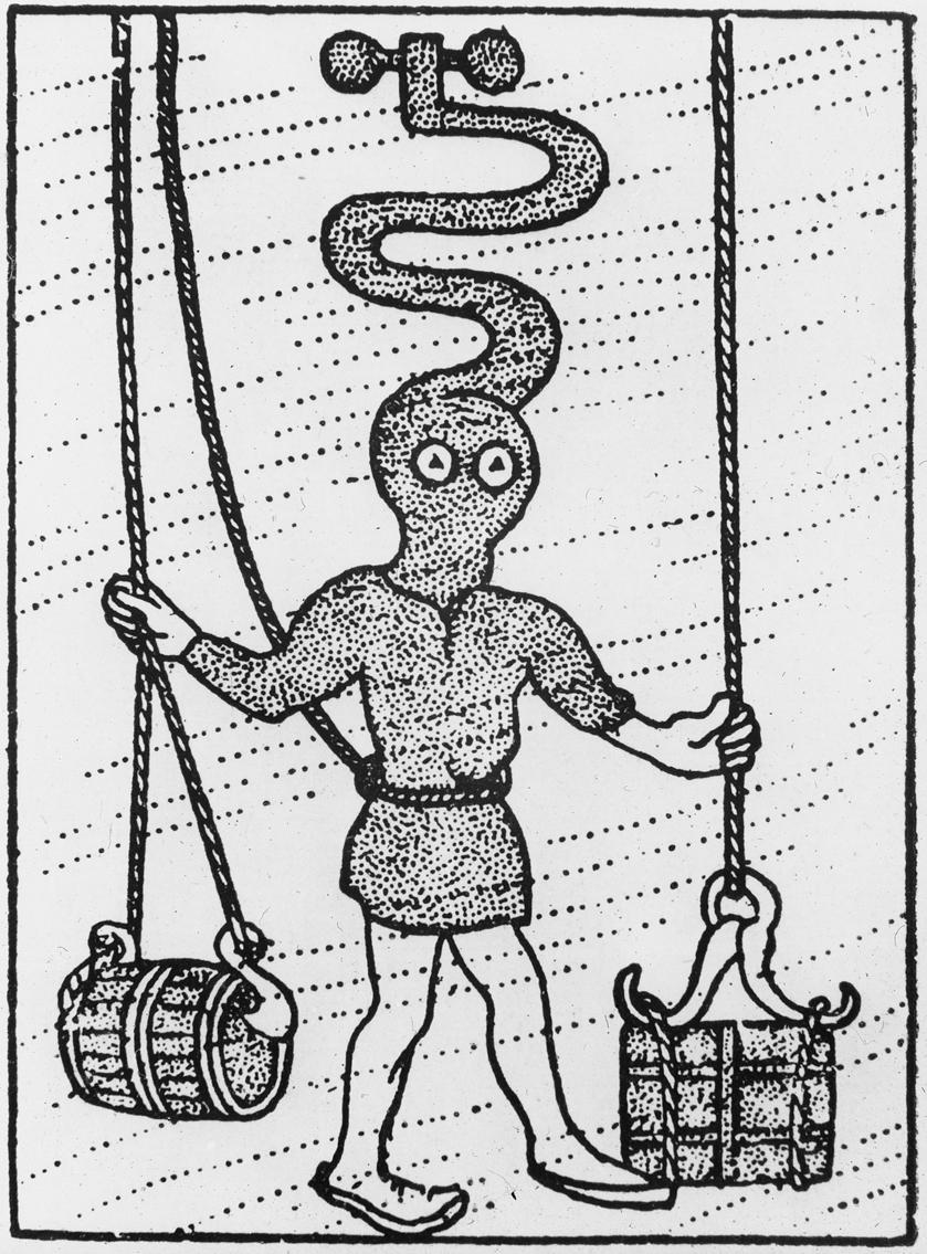 Avfotografert trykk som viser tegning av dykker i dykkerdrakt med oksygentilførsel, ca 1700-1800-tallet.
