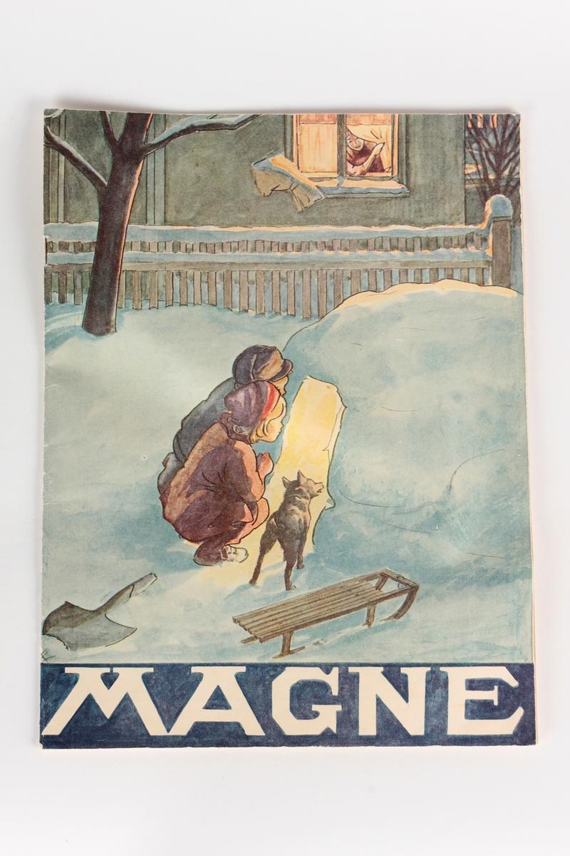 To barn og en hund som kikker inn i en snøhule.