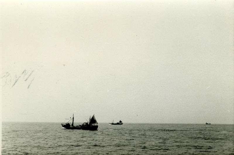Båter på vei mot fiskefeltet